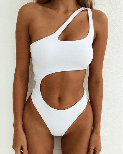 2020 Amazon new ladies one-piece swimsuit solid color sexy gathered irregular bikini