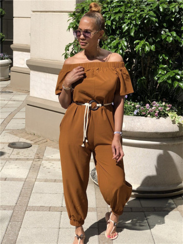 Brown Solid color quick-drying cloth shoulder jumpsuit