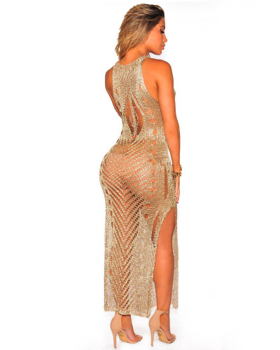 Golden High-tech sexy women's cutout skirt