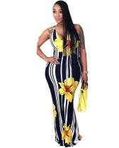 Yellow Printed sleeveless slim waist dress