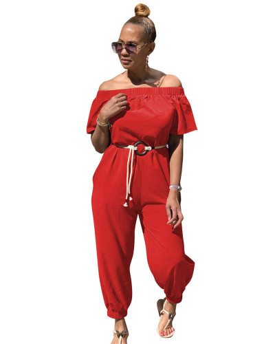 Red Solid color quick-drying cloth shoulder jumpsuit