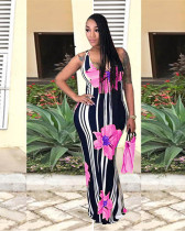 Pink Printed sleeveless slim waist dress