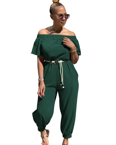 Dark green Solid color quick-drying cloth shoulder jumpsuit