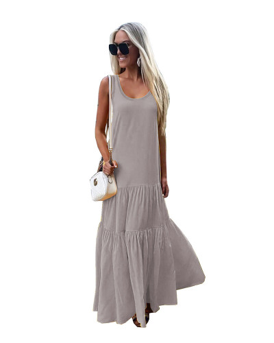 Gray Solid color round neck sleeveless stitching dress