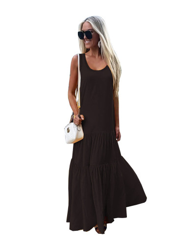 Black Solid color round neck sleeveless stitching dress