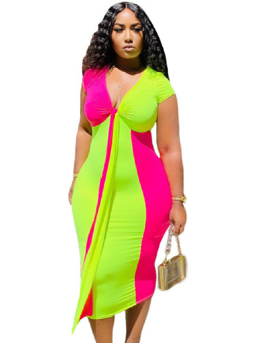 Green Amazon's new two-color fashion sexy casual stitching dress