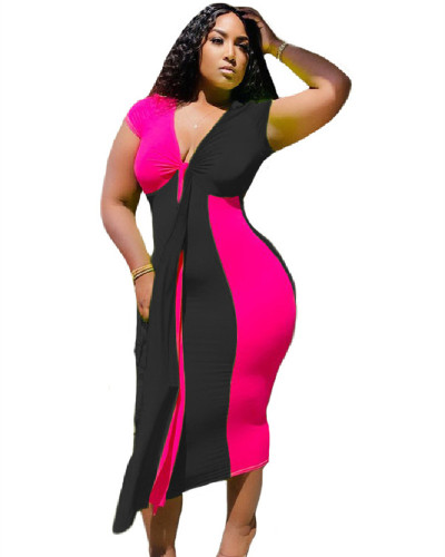 Pink Amazon's new two-color fashion sexy casual stitching dress