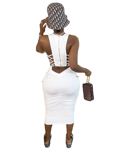 White Amazon Pure Color Pleated Zipper Bandage Mid-Top Bandeau Skinny Dress