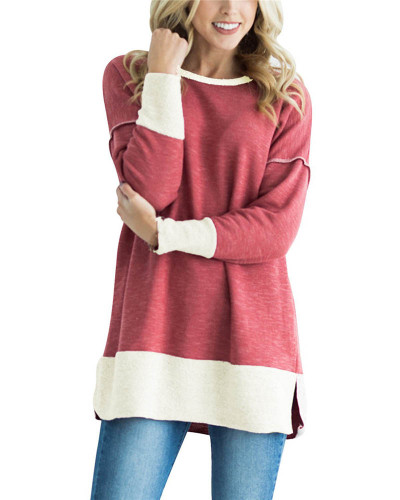 Red Round neck stitching contrast color long T-shirt
