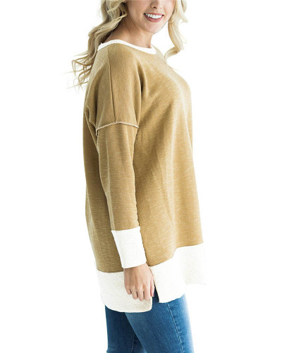 Khaki Round neck stitching contrast color long T-shirt