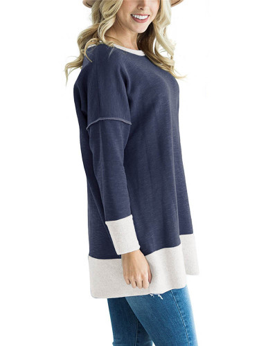 Dark bule Round neck stitching contrast color long T-shirt