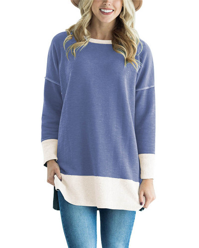 Light bule Round neck stitching contrast color long T-shirt