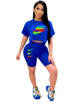 Blue Fashion Trend Explosion Casual Short Sleeve Sports Two-Piece Positioning Printing New