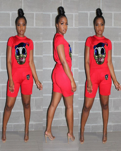 Red Casual Set Donald Duck Sequin Splicing Two-Piece Set