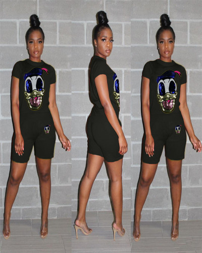 Black Casual Set Donald Duck Sequin Splicing Two-Piece Set