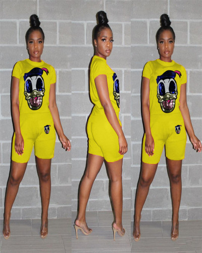 Yellow Casual Set Donald Duck Sequin Splicing Two-Piece Set