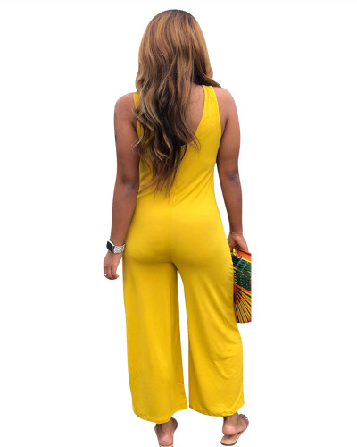 Yellow Casual home jumpsuit