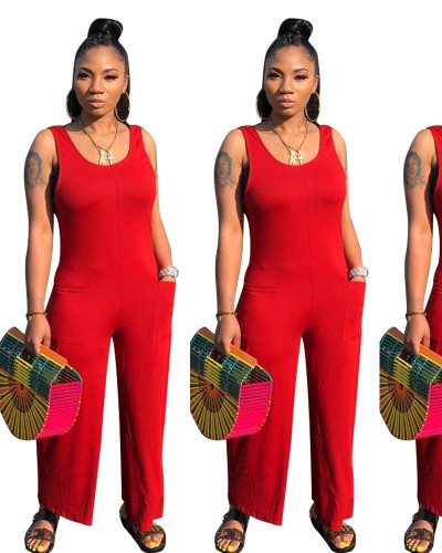 Red Casual home jumpsuit