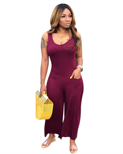 Dark Red Casual home jumpsuit