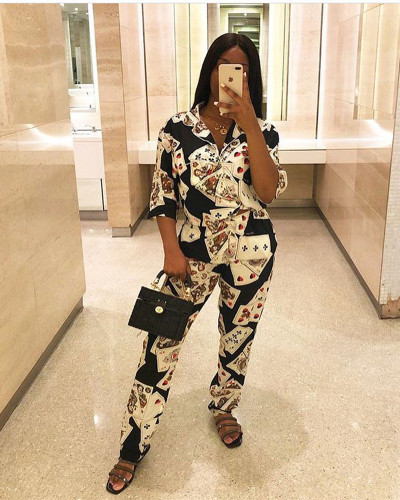 2020 summer fashion women's poker printed suit collar two-piece suit