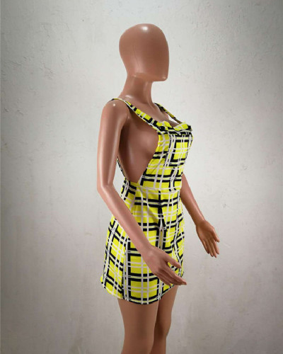 Yellow 2020 Summer personality check print dress