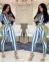 White fashion leopard decoration positioning leisure sports zipper two-piece set