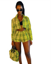 Yellow Amazon hot cake fashion personality mini skirt net red Daren plaid sexy two-piece suit