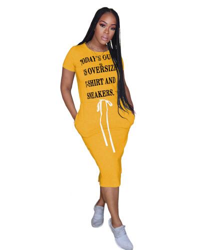 Yellow Drawstring split dress with letter belt