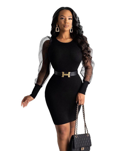 Black sexy mesh stitching perspective long sleeve bag hip skirt dress