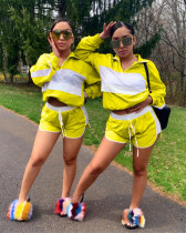 Yellow 2020 hot sale personality sunscreen mesh sports shorts two-piece set