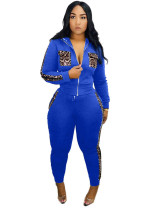 Blue 2020 Leopard print stitching leisure sports two-piece suit