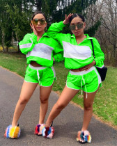 Green 2020 hot sale personality sunscreen mesh sports shorts two-piece set