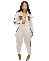 White 2020 Leopard print stitching leisure sports two-piece suit