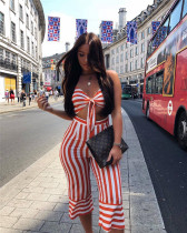 Summer hot sale sexy striped two-piece suit