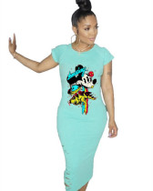 Green 2020 Summer Personalized Anime Print Pullover Dress