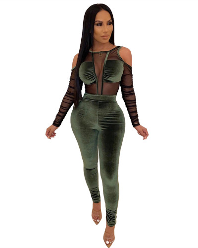 Green Gold velvet stitching mesh sexy jumpsuit