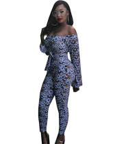 Euro-American dark blue sexy backless multicolor printed lace-up jumpsuit