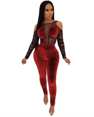 Red Gold velvet stitching mesh sexy jumpsuit
