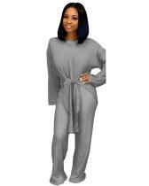 Gray Loose bandage wide leg pants two piece suit