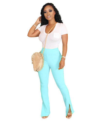 Blue Solid color slim slimming split micro flared track pants