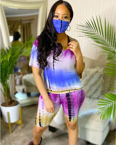 Yellow Tie-dye V-neck casual fashion home sports shorts suit (including mask)