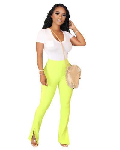 Green Solid color slim slimming split micro flared track pants