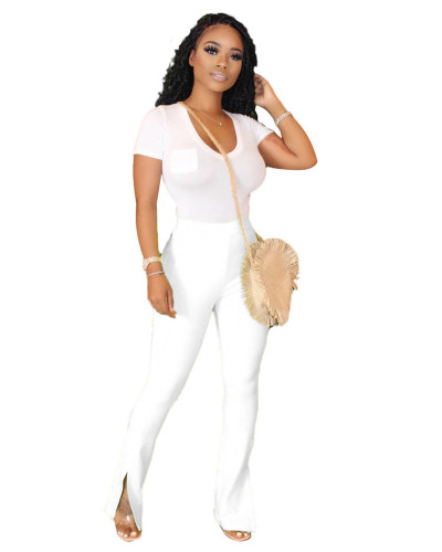 White Solid color slim slimming split micro flared track pants