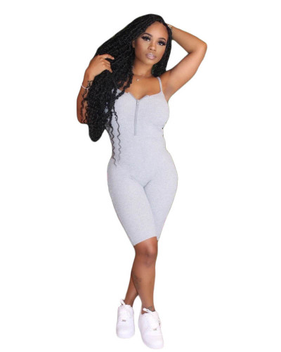 Gray Sleeveless chest zip solid color jumpsuit