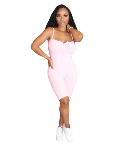 Pink Sleeveless chest zip solid color jumpsuit