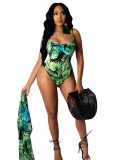 Green Printed Strap Open Edge Sexy Split Bikini