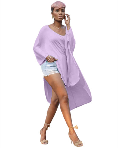 Purple Short front and long back leisure T-shirt