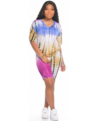 Bule Sports and leisure tie-dye two-piece suit