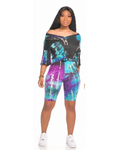 Violet Sports and leisure tie-dye two-piece suit