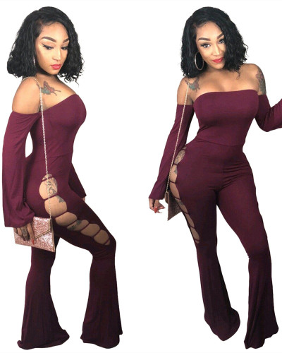 Red Micro flared hole jumpsuit